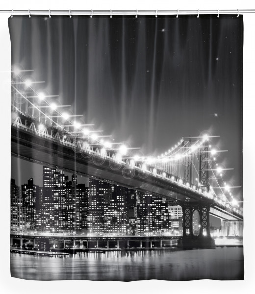 LED Duschvorhang Brooklyn Bridge, 180 x 200 cm waschbar