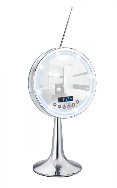 LED Kosmetik-Standspiegel Imperial mit Bluetooth Funktion USB-Port und Mikrofon, 3-fach Vergrößerung