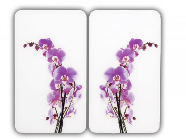 Glasabdeckplatte Universal Orchideenblüte, 2er Set