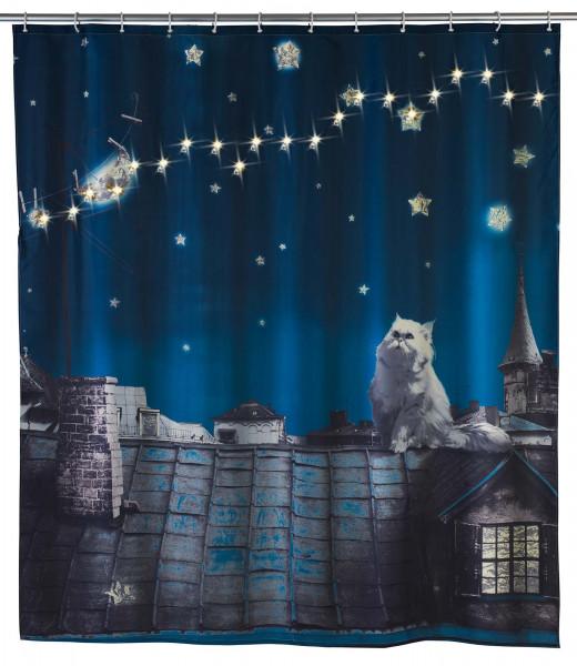 LED Duschvorhang Moon Cat, 180 x 200 cm waschbar