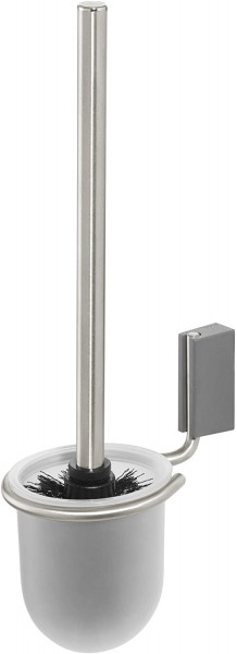 Cliqit Toilettenbürstenhalterung, Edelstahl gebürstet, ABS Kunststoff, grau