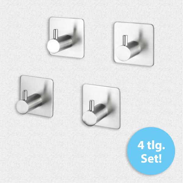 Wandhaken Alzo Edelstahl matt - 4er Set, selbstklebend, Edelstahl rostfrei