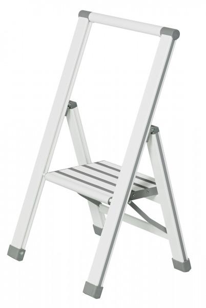 Alu-Design Klapptrittleiter, 1-stufig, weiß