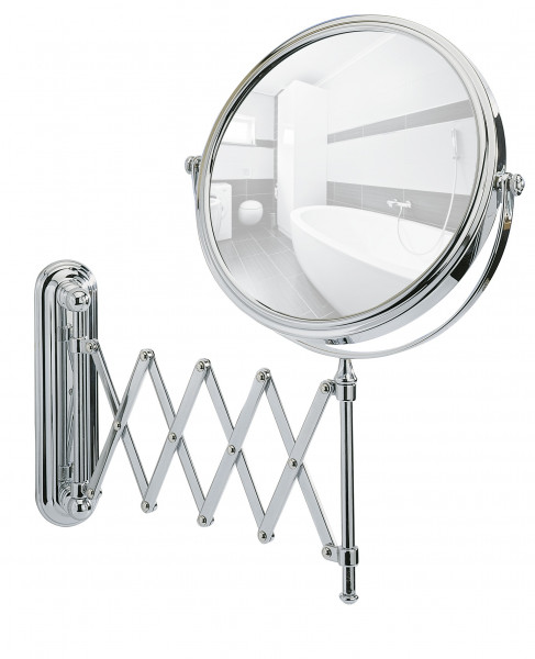 Kosmetikwandspiegel 20cm Teleskop 5fach-Vergrößerung Chrom