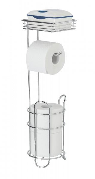 WENKO Stand Toilettenpapierh. m. Ablage Chrom