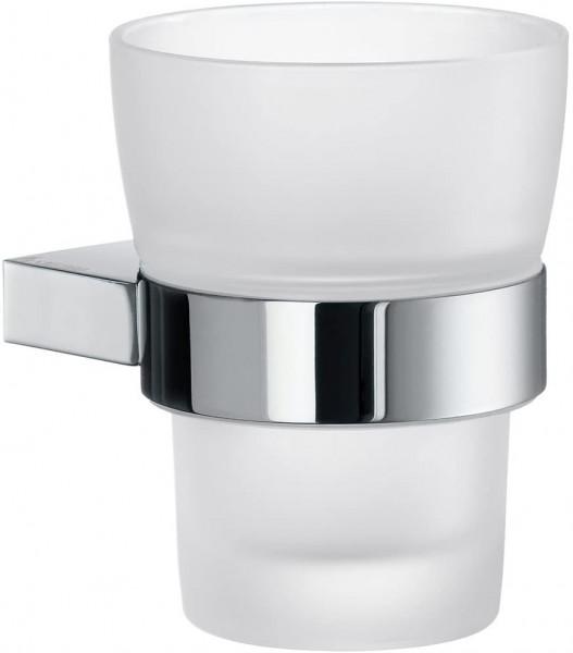 Air-Halter mit Milchglas Becher, silber/weiß