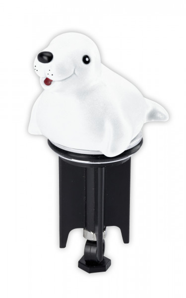 Waschbeckenstöpsel Pluggy® 3D Robbe für alle handelsüblichen Abflüsse