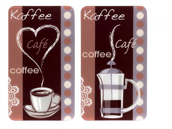 Glasabdeckplatte Universal Kaffeeduft, 2er Set