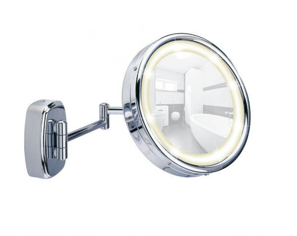 Kosmetikwandspiegel Touch, Chrom 5fach-Vergößerung