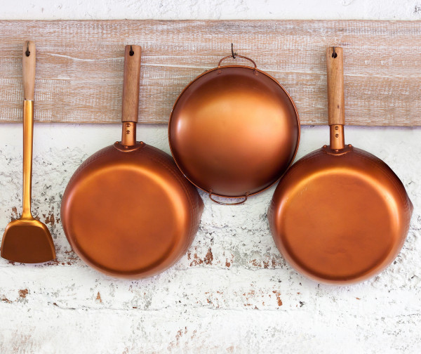 Glasrückwand Kupferpfannen, 60 x 50 cm