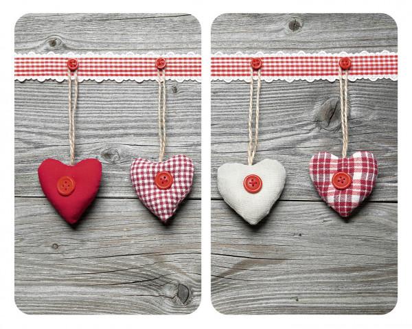 Glasabdeckplatten Herzen 2er
