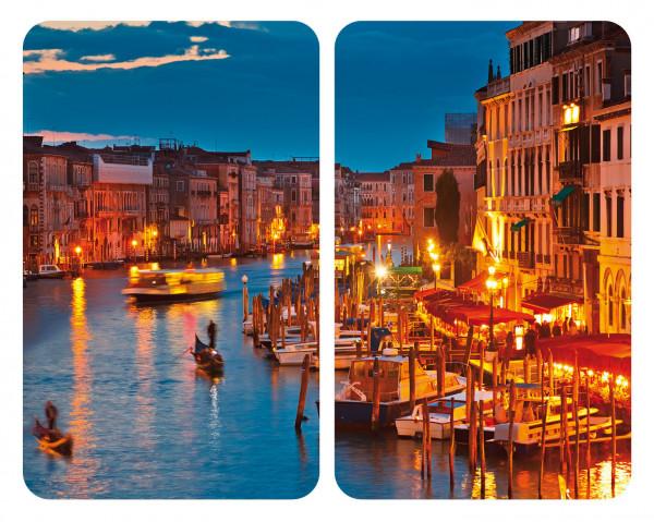 Glasabdeckplatte Universal Venice by Night, 2er Set für alle Herdarten