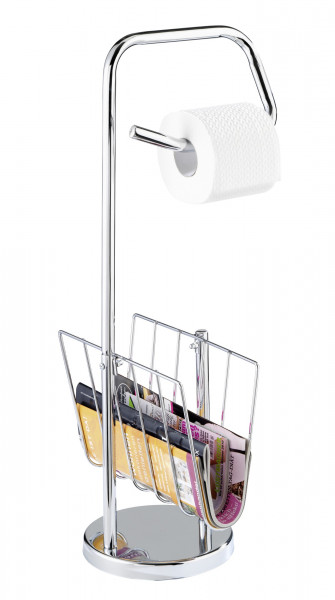 Freistehender Toilettenpapierhalter mit Zeitungsständer in Chrom Optik von WENKO