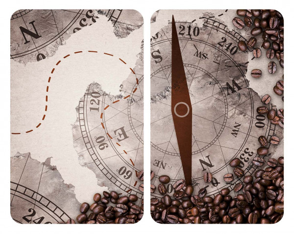 Glasabdeckplatten Kompass, 2er-Set