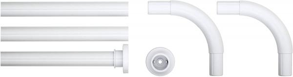 Kombi-Winkel Duschvorhangstange, Aluminium, Weiß