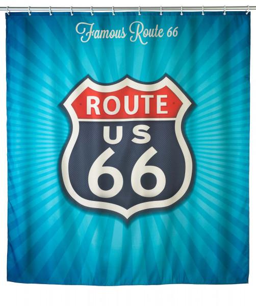 Anti-Schimmel Duschvorhang Vintage Route 66, 180 x 200 cm waschbar