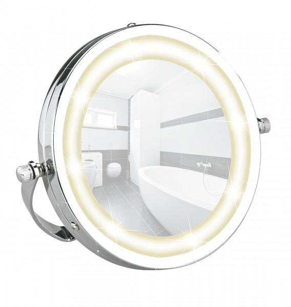 LED Kosmetikspiegel Brolo, Handspiegel 3-fach Vergrößerung