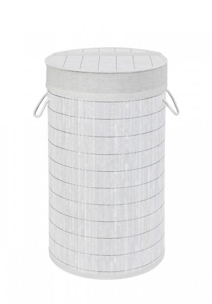 Wäschetruhe Bamboo Weiß Wäschekorb, 55 l