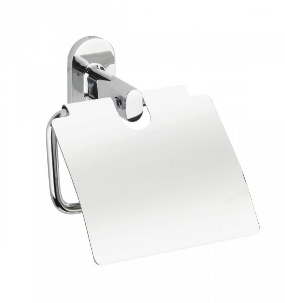 Toilettenpapierhalterung mit Deckel ohne Bohren in Chrom Optik von WENKO