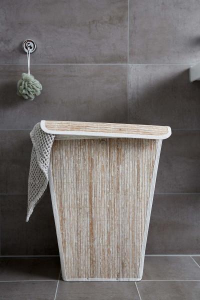 Wäschetruhe Bamboo Weiß, konisch Wäschekorb, 55 l