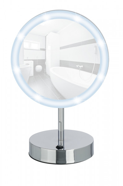 LED Standspiegel Aura Kosmetikspiegel, mit Acrylrahmen, 5-fach Vergrößerung
