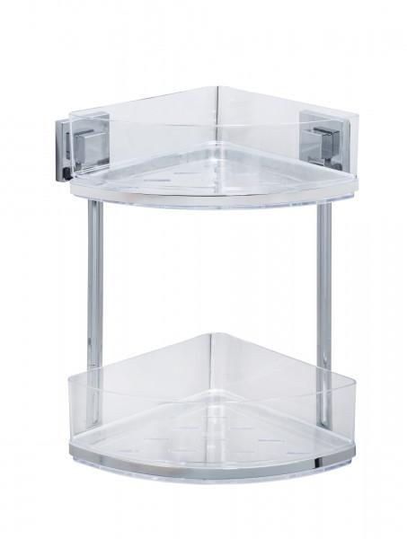 Vacuum-Loc® Edelstahl Eckregal 2 Etagen Quadro Befestigen ohne bohren