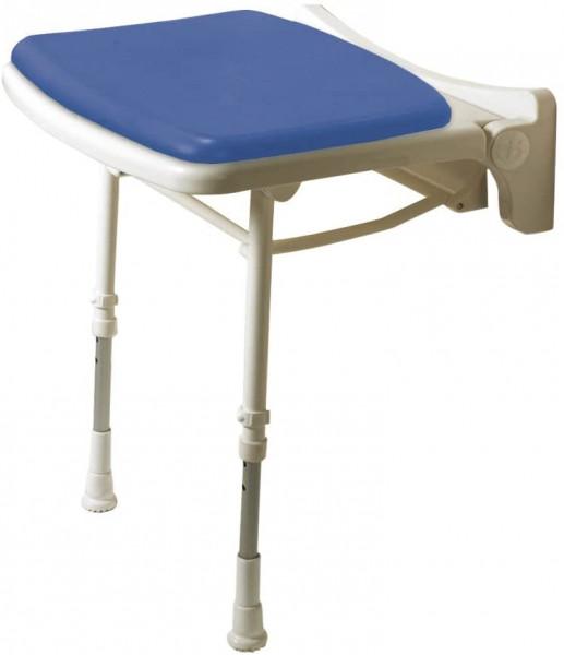Polstersitz mit Stützfüßen, höhenverstellbar, Kunststoff, weiß mit blauem Polster, 46 x 39 mm