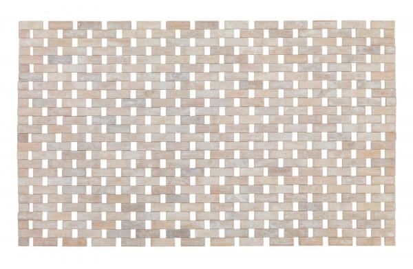 Badematte Bamboo massiv 50x80 cm, weiß