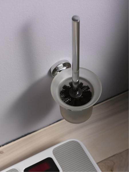 Aspen Toilettenbürstenhalter, verchromtes Metall mit Sicherheitsglas