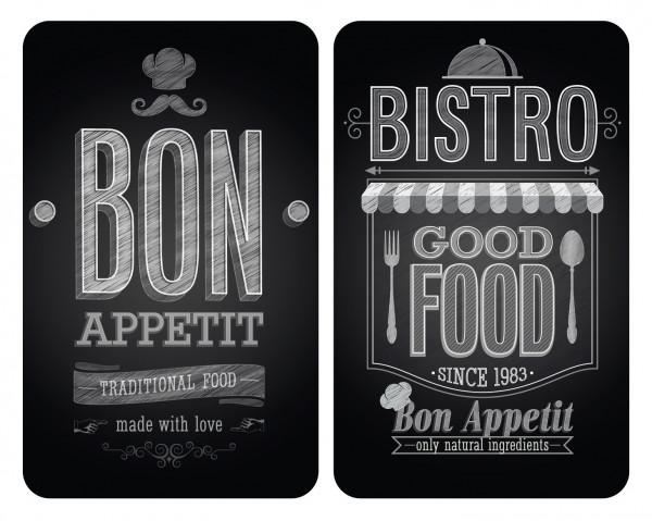 Glasabdeckplatte Universal Bon Appetit, 2er Set für alle Herdarten