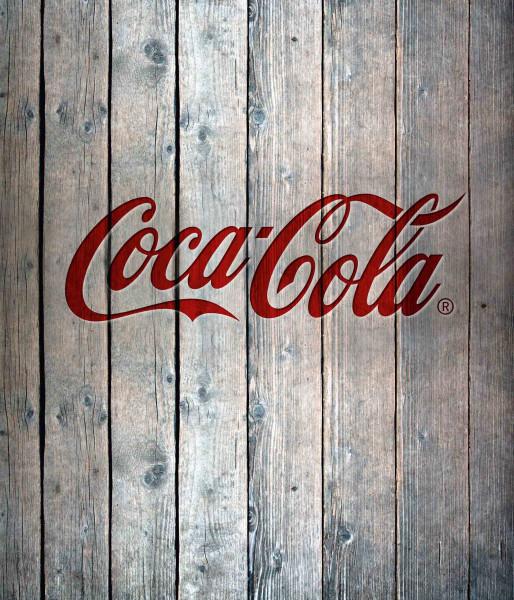 Glasrückwand Coca-Cola Wood