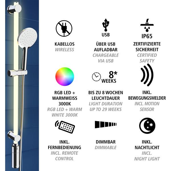 LED Duschstangen-Set 94 cm RGB + Warmweiß