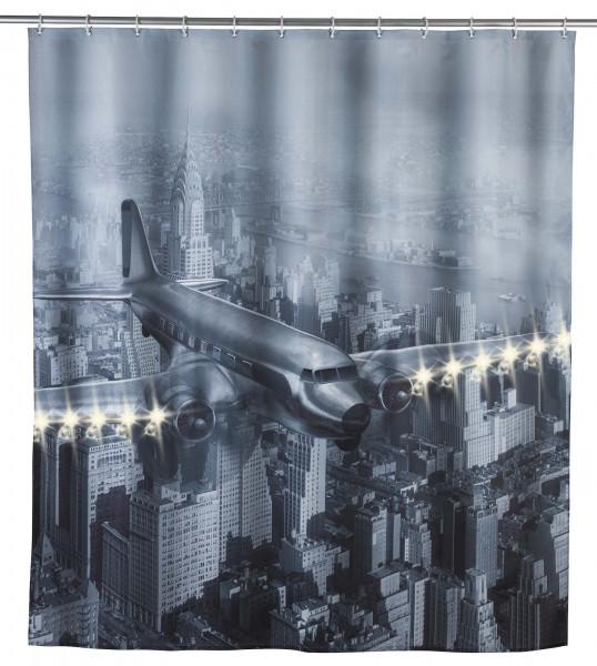 LED Duschvorhang Old Plane, 180 x 200 cm waschbar