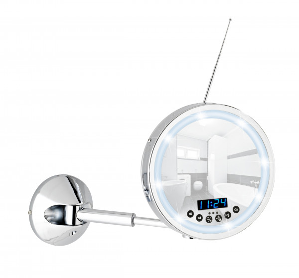 LED Wandspiegel Imperial mit Bluetooth Funktion USB-Port und Mikrofon, 3-fach Vergrößerung