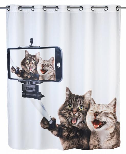 Anti-Schimmel Duschvorhang Selfie Cat Flex Polyester, 180 x 200 cm, waschbar